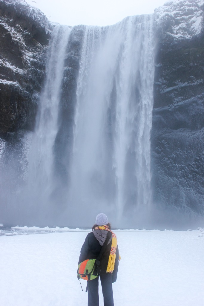 Winter scene at Skogafoss Waterfall, Iceland
