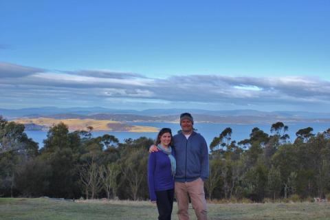 JetSetting Fools Sarah and Kris hiking Mount Nelson, Hobart, Tasmania, Australia