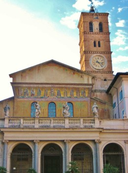 15-Day London Paris Rome Itinerary Rome Basilica Santa Maria in Trastevere colorful facade