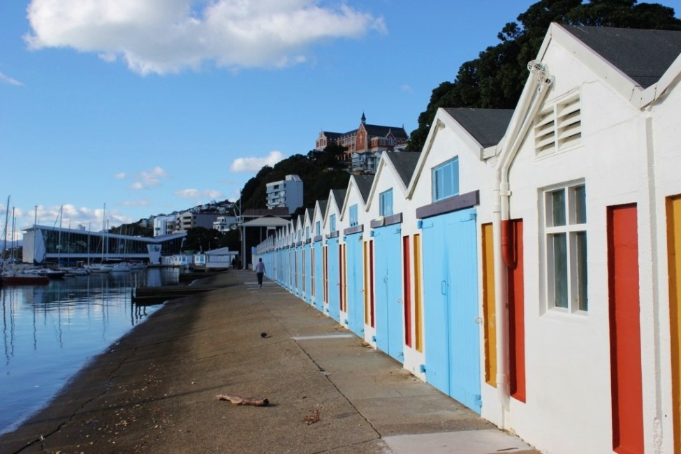 Colorful Boat Houses, Wellington, New Zealand