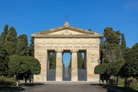 Gates to city cemetery in Lecce, Italy