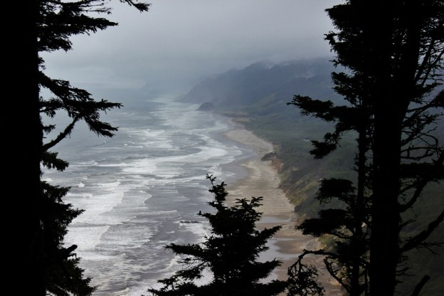 A coastline viewpoint along one of the hikes near Florence, Oregon