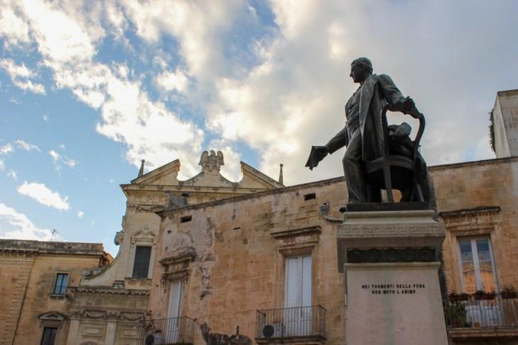 Monument to Sigismondo Castromediano in Lecce, Italy