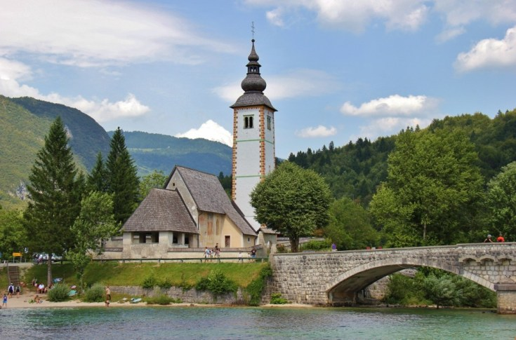 St. John the Baptist Church and bell tower on east end of Lake Bohinj, Slovenia
