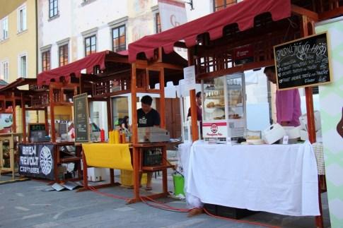 Booths selling food at KRanska Kuhna, culinary event, Kranj, Slovenia