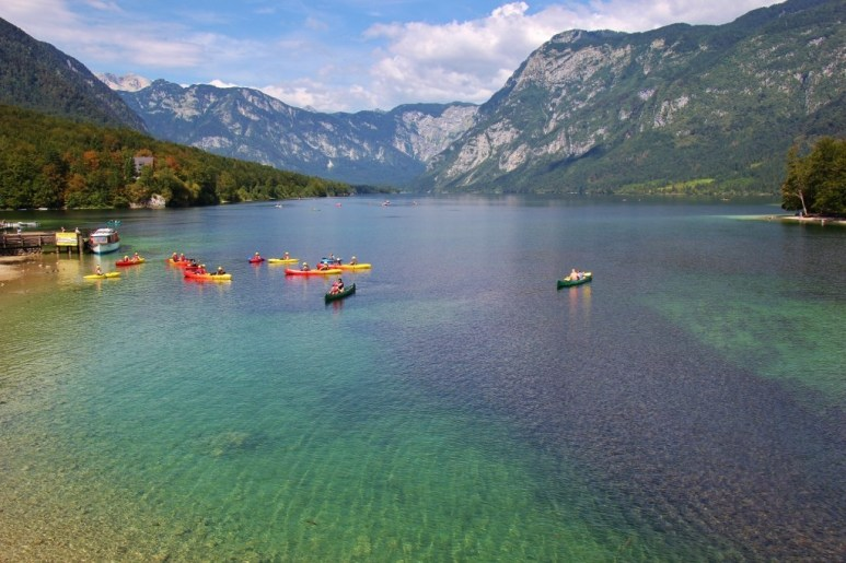Kayaks and mountains at Lake Bohinj, Slovenia