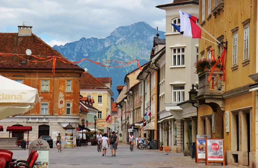 Main Square, Glavni trg, Kranj, Slovenia, mountains in background