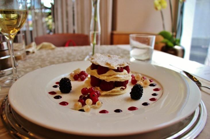 Millefoglie berry cream Dessert, Proteus Restaurant, Postojna Cave, Slovenia