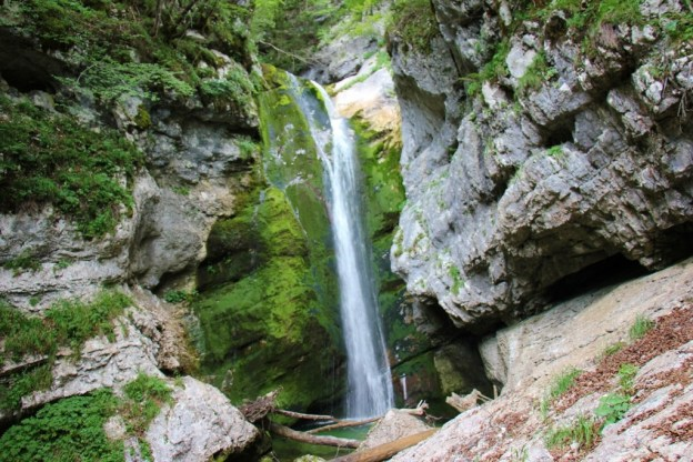 Mostnica Waterfallat on the hiking trails near Lake Bohinj, Slovenia