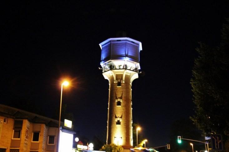 Water Tower lit at night, Kranj, Slovenia