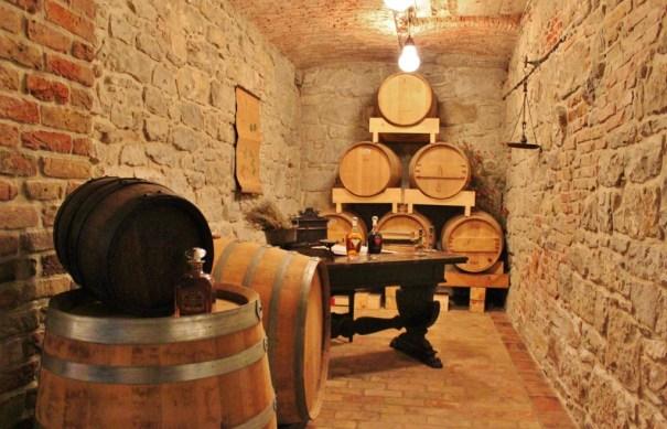 Wooden barrels at Aura Distillery in Buzet, Istria, Croatia