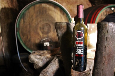 Old Bottle of Slovenian Wine in cellar at Hisa Vin Rondic