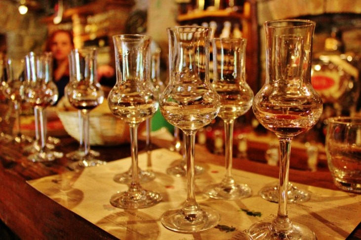 Brandy Rakija Tasting Glasses at Aura Distillery in Buzet, Istria, Croatia
