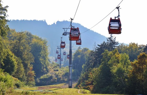 Red Cable Car Gondola to top of Pohorje Mountain in Maribor, Slovenia
