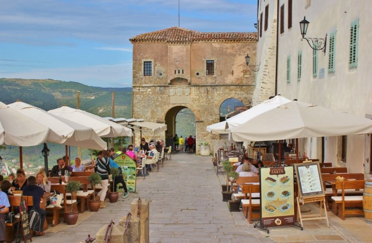 City Gate and outdoor cafe in Motovun, Istria, Croatia