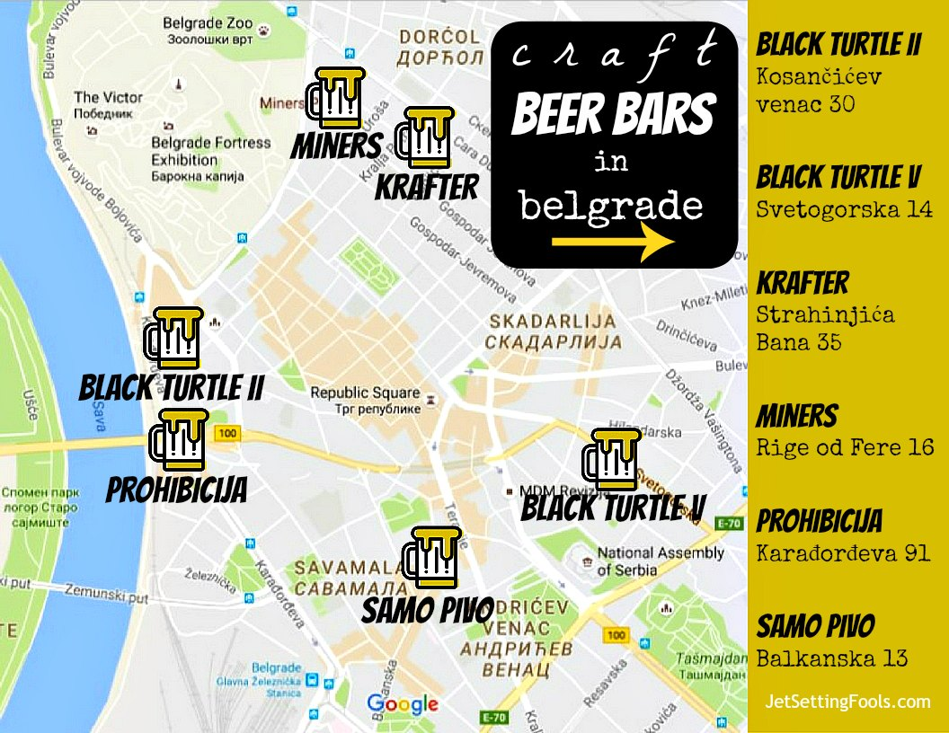 Map and Addresses for craft beer bars in Belgrade, Serbia