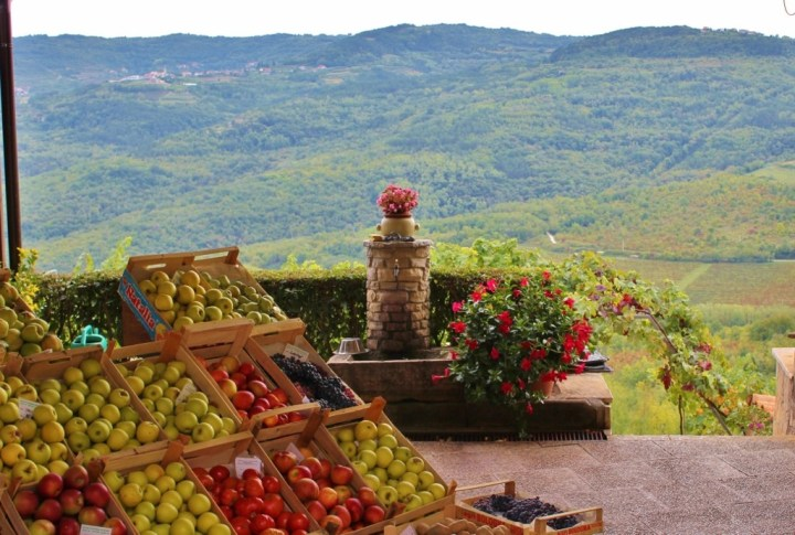 Fruit stand with views in Motovun, Istria, Croatia
