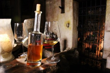 Homemade Brandy iin cellar at Hisa Vin Rondic in Slap, Slovenia