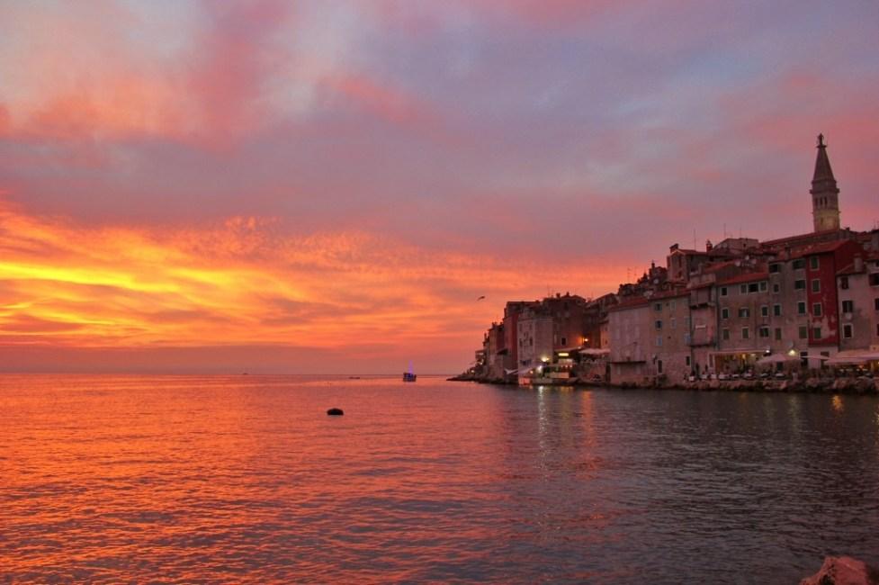 Orange and purple sunset over Rovinj, Istria, Croatia
