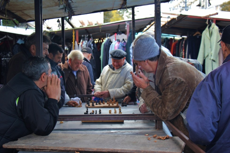 Men playing chess at Green Market in Belgrade, Serbia