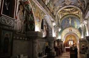 Tiled mosaic designed interior at St. Petka Chapel in Belgrade, Serbia