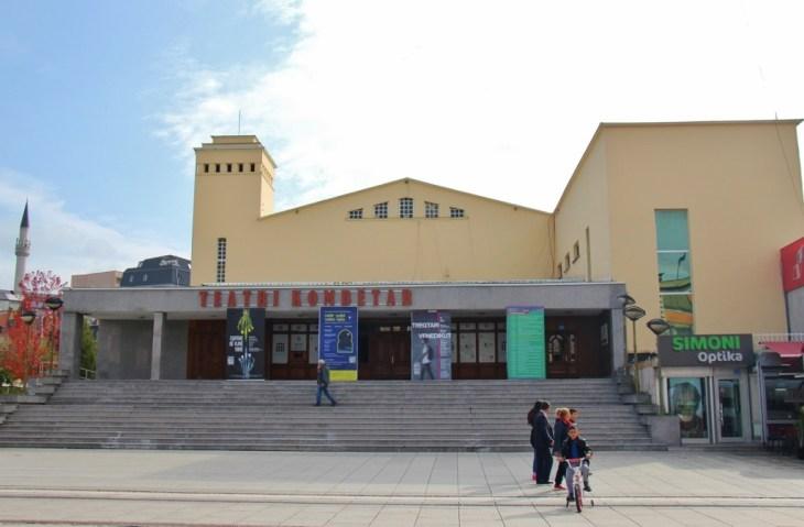 National Theater building on Mother Teresa Boulevard in Prishtina, Kosovo