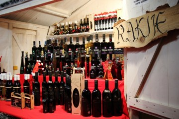 Booth sells Rakjie during Christmas in Zagreb, Croatia