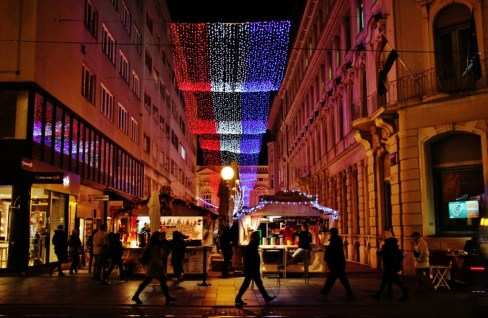 Christmas lights decorate the city during Advent in Zagreb, Croatia