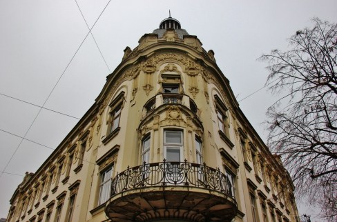 Ornate architecture on European Avenue in Osijek, Croatia