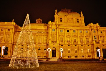 Croatian National Theater at Christmas in Zagreb, Croatia