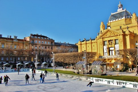 Ice Park and Art Pavilion on Tomislav Square during Christmas in Zagreb, Croatia