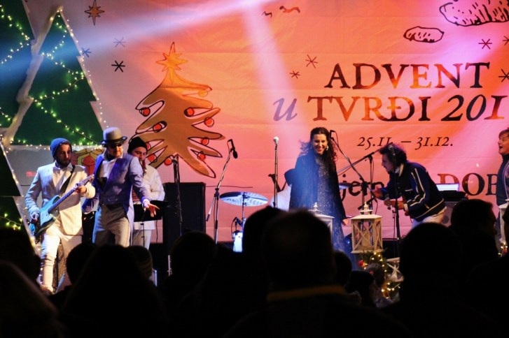 Soulfingers cover band performs at Advent u Tvrdi in Osijek, Croatia