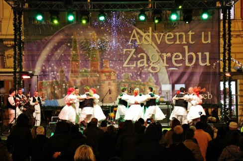 Folk dancerts perform on Ban Jelacic Square during Christmas in Zagreb, Croatia