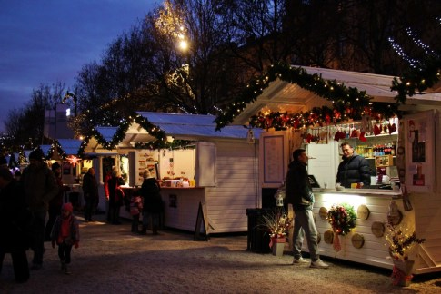 Food and Gifts for sale from wooden huts throughout the city during Christmas in Zagreb, Croatia