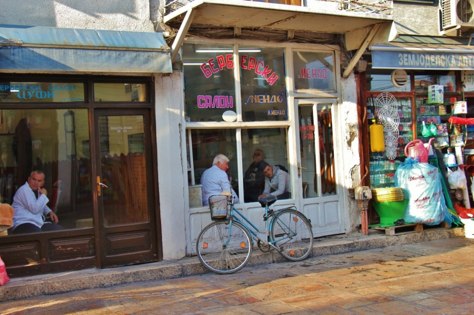 Barber shhops in Old Bazaar, Skopje, Macedonia