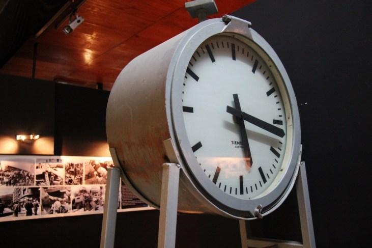 Clock marks time of earthquake, Old Railway Station Museum, Skopje, Macedonia