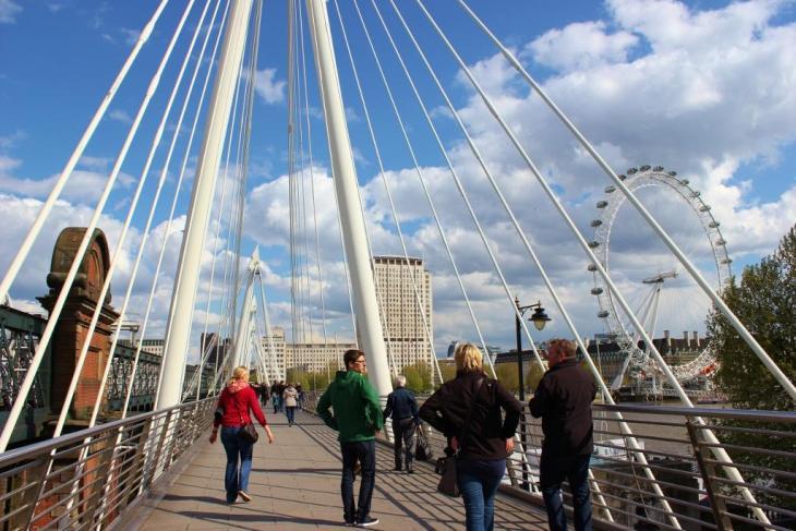 Walking on Golden Jubilee Pedestrian Bridge, London, England, jetsettingfools.com
