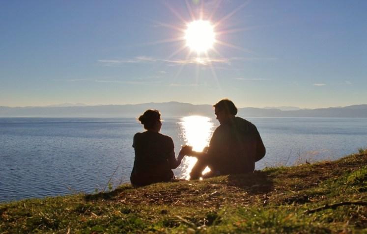 Sarah and Kris watching the sunset at Lake Ohrid, Macedonia