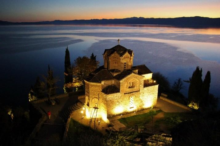 St. John at Kaneo Church at sunset, Lake Ohrid, Macedonia