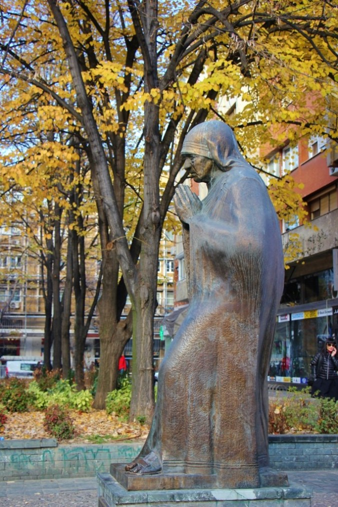 Statue of Mother Teresa at Memorial House of Mother Teresa, Skopje, Macedonia