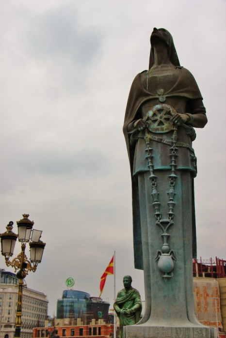 Statue on center of Bridge of Civilizations in Skopje, Macedonia