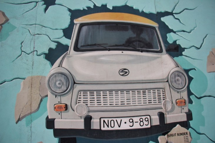The East Side Gallery mural artwork on remaining Berlin Wall in Berlin, Germany