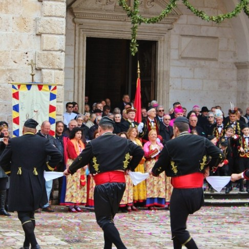 Dancers perform at St. Tryphon Day Festival in Kotor, Montenegro