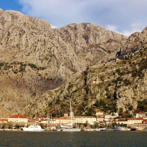 View of Kotor, Montenegro from south side of Bay of Kotor