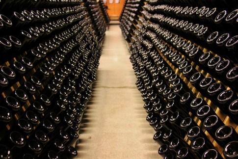 Sparkling Wine bottles fermenting at Wackerbarth Winery in Radebeul near Dresden, Germany