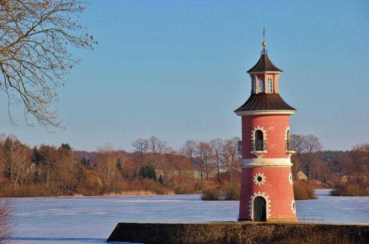 Pink lighthouse at Moritzburg Castle near Dresden, Germany