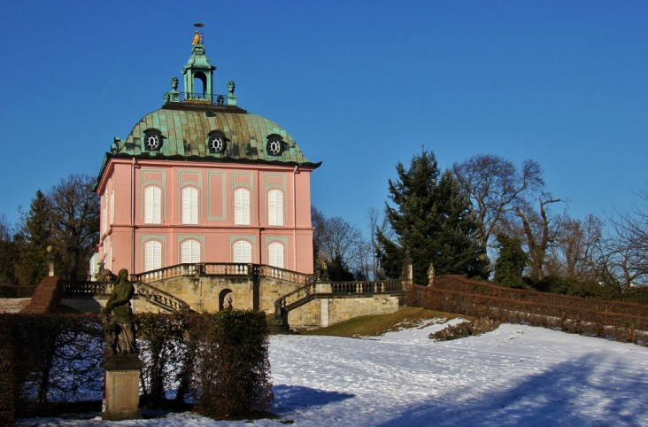 Pink Little Pheasant Castle at Moritzburg Castle near Dresden, Germany