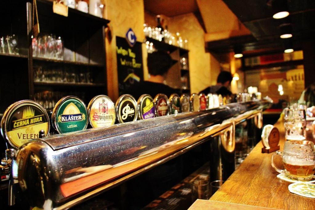 Beer Taps at Prague Beer Museum Gastropub, Prague, Czech Republic