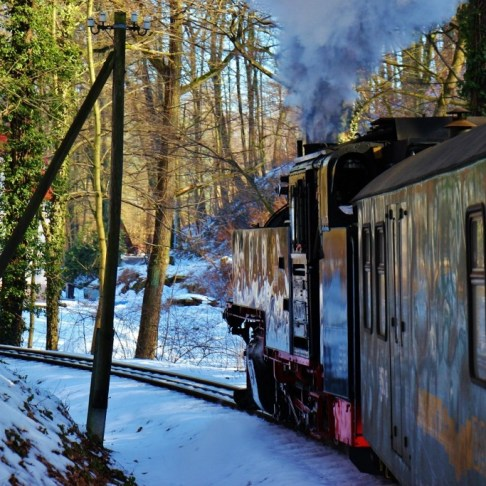 Riding the steam train from Radebeul to Moritzurg Castle in winter in Dresden, Germany