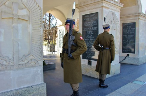 Two soldiers at the Changing of the Guard at the Tomb of the Unknown Soldier in Warsaw, Poland